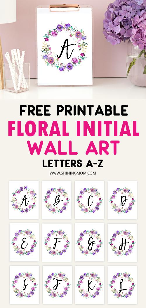 These FREE Floral Initial Wall Art printables are perfect to use to decorate your kid's nursery and more. Get yours today. #freeprintables