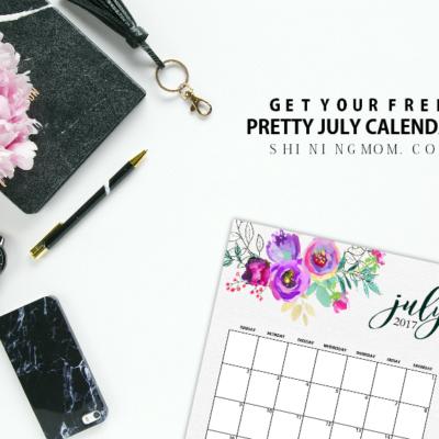 FREE July 2017 Calendar Set: 5 Gorgeous Designs to Print!