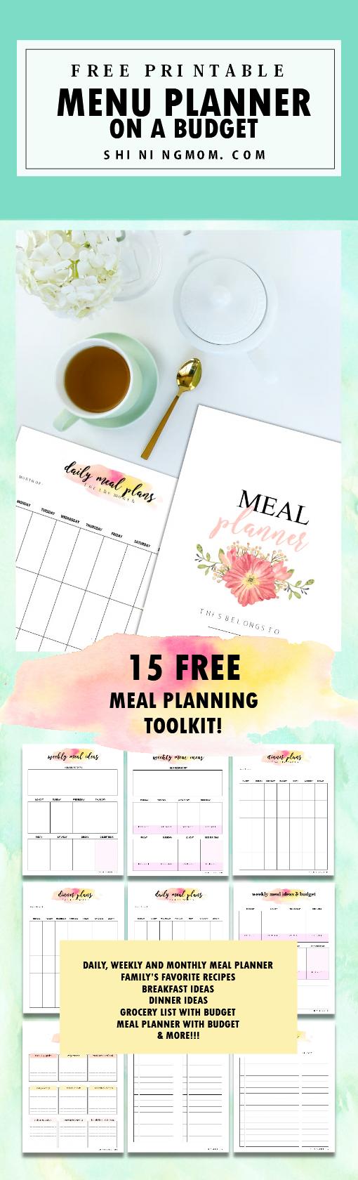 menu planner printable