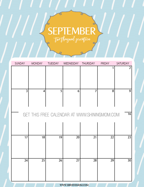 cute September 2017 printable calendar