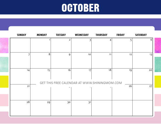 October 2018 calendar colorful