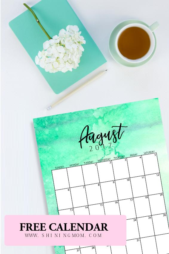 August 2017 calendar printable free