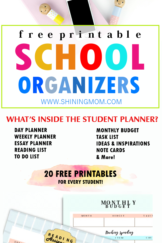 printable school organizers for students