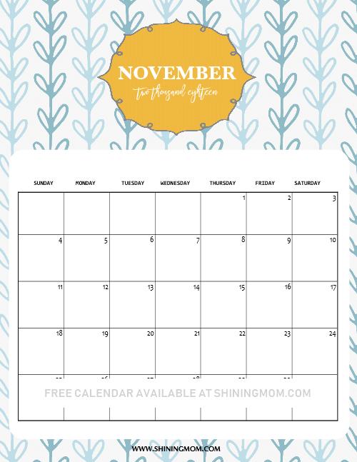 November 2018 calendar kids