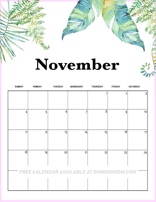 Printable November calendar 2018