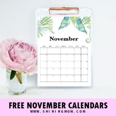 November 2018 Calendar Free Printables: 12 Beautiful Designs!