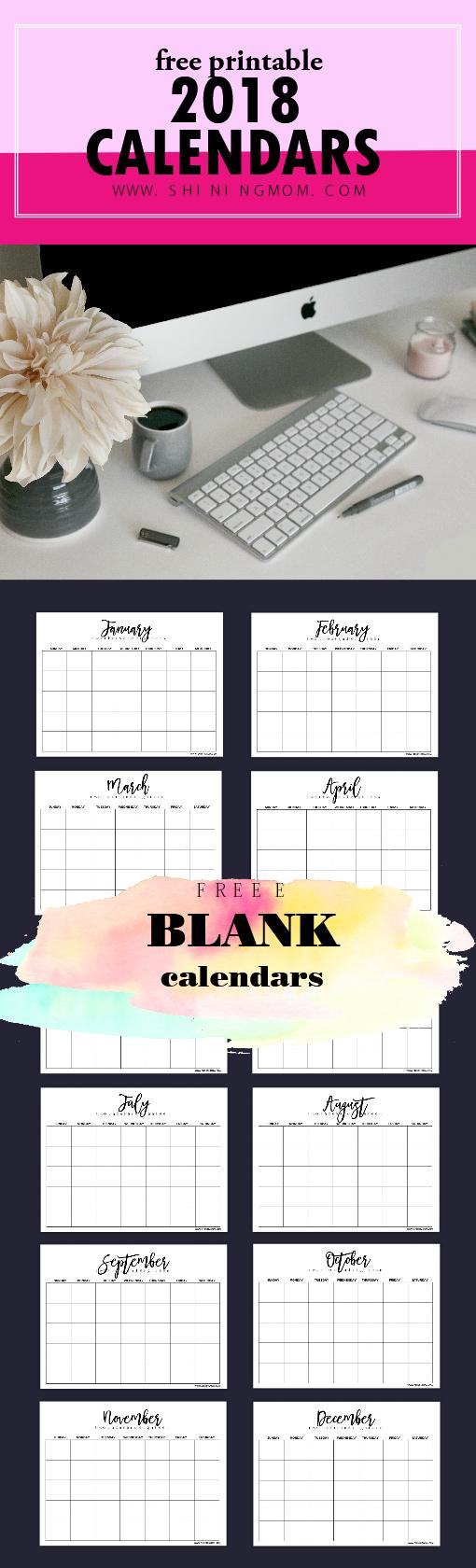 free balnk calendar 2018