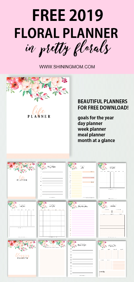 Click to download this truly beautiful free 2019 floral life planner with blog planner! Great to use to organize your schedule! #planner #2019 #freeprintable