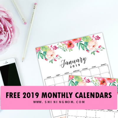 Free Monthly Calendar 2019 and Life Planner in Florals!