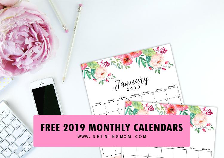 monthly calendar 2019