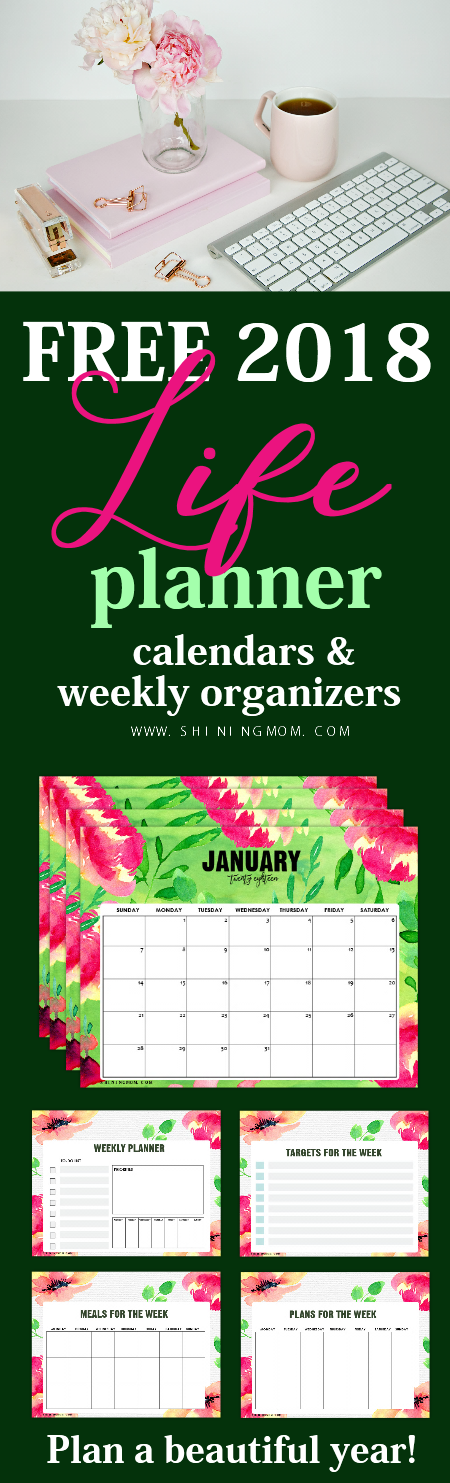 2018 planner printables with free monthly calendar
