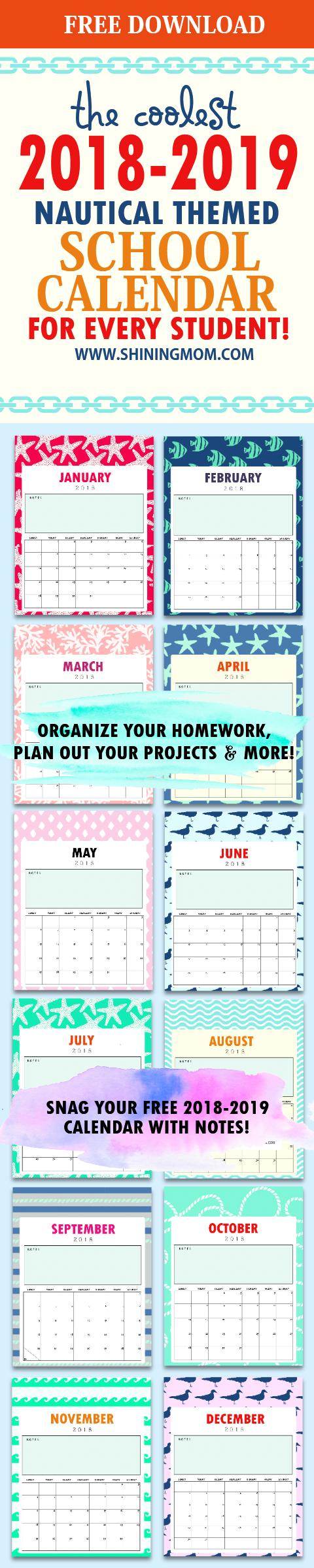 Free school calendar 2018 for kids