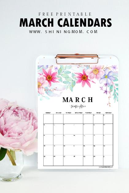 March 2018 calendar printable