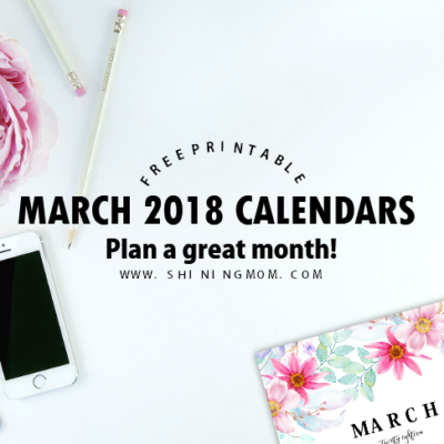 Free Printable March 2018 Calendar: 12 Beautiful Designs!