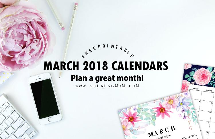free printable March 2018 calendar