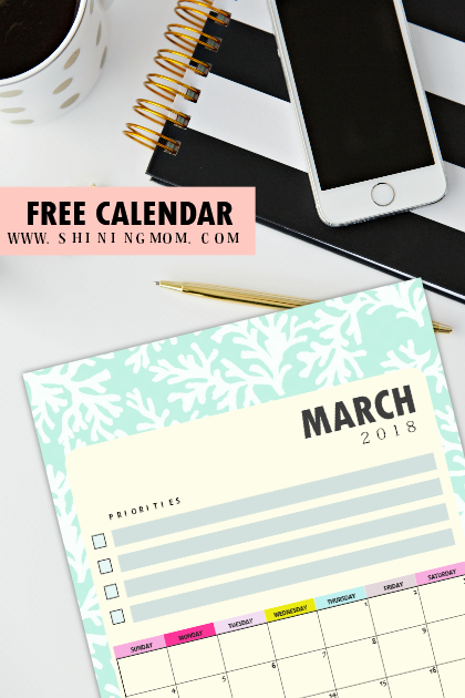 free printable March 2018 calendar for kids