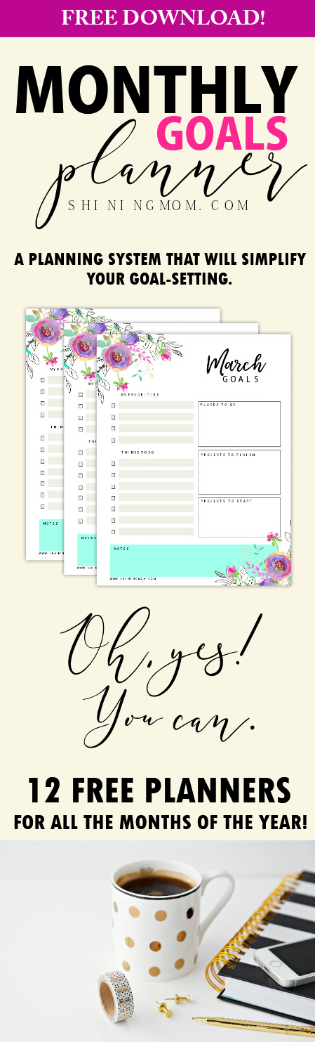 Monthly goal-setting planner printables free