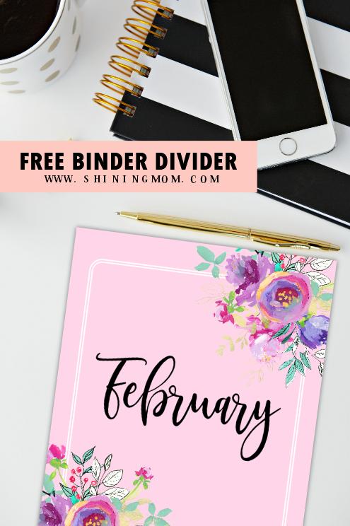 free printable binder divider