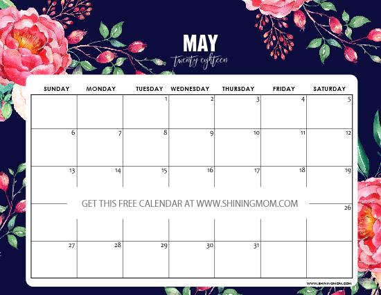printable May 2018 calendar floral