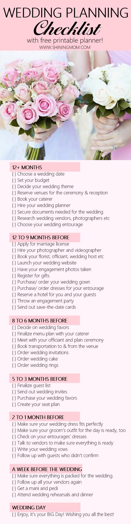Free Printable Wedding Planner With Wedding Checklist