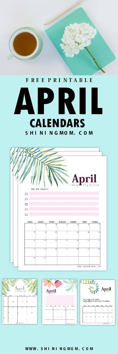 April 2018 calendar planner