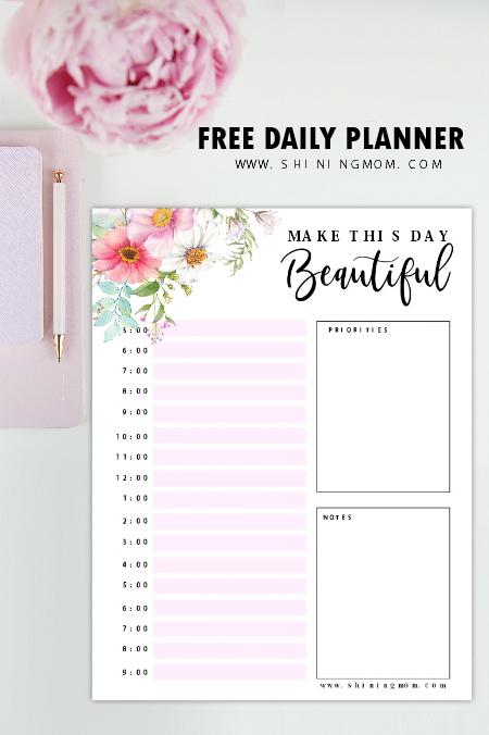 Free Printable Daily Planner Beautiful Pages