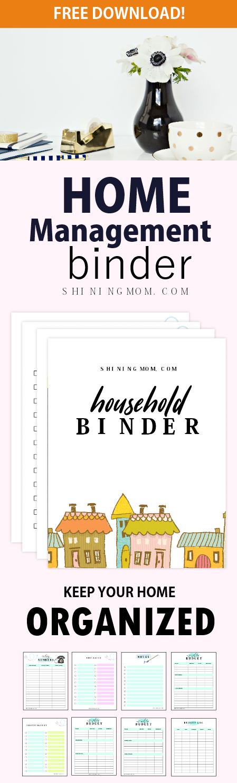 free printable home management binder