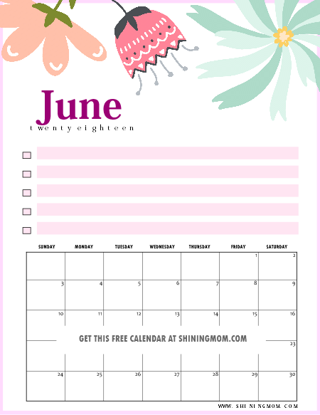 goals focused free printable june 2018 calendar