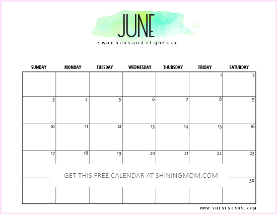 free printable june 2018 calendar 12 amazing designs. Black Bedroom Furniture Sets. Home Design Ideas