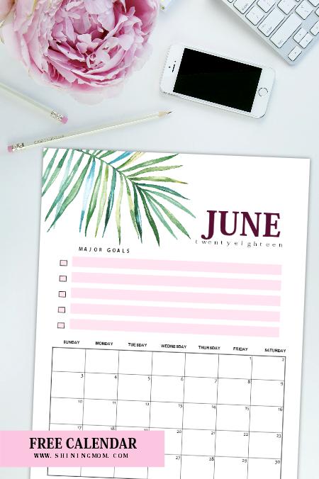 June 2018 calendar planner