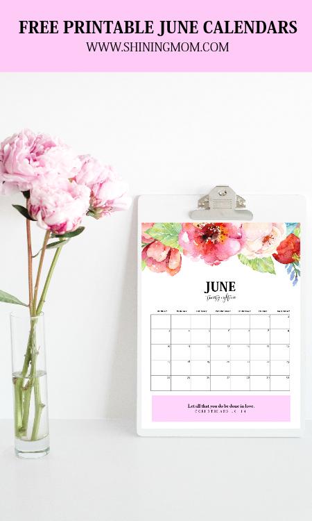 June 2018 calendar printables