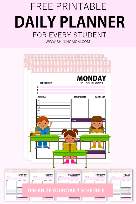 daily planner for school students free printable