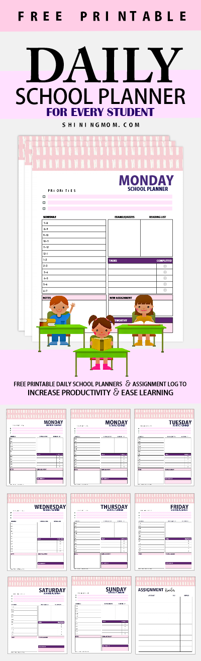 daily school planner printable