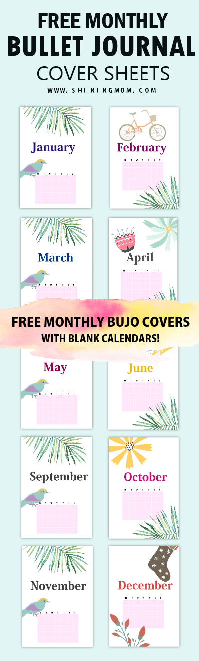 free printable monthly bullet journal cover