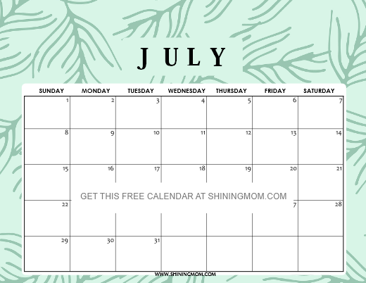 free july 2018 calendars for school kids