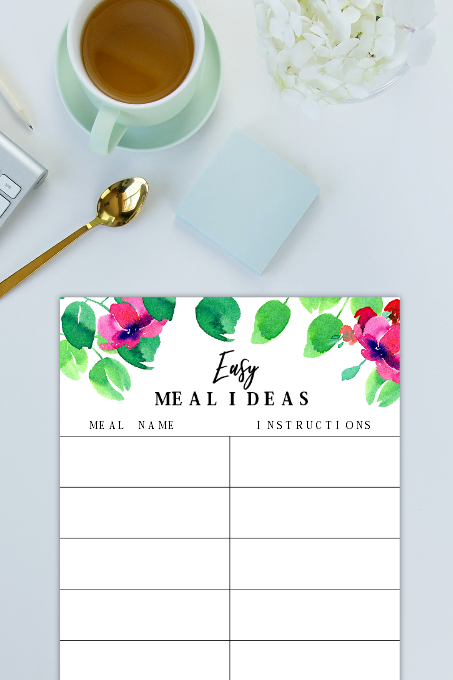 meal ideas printable