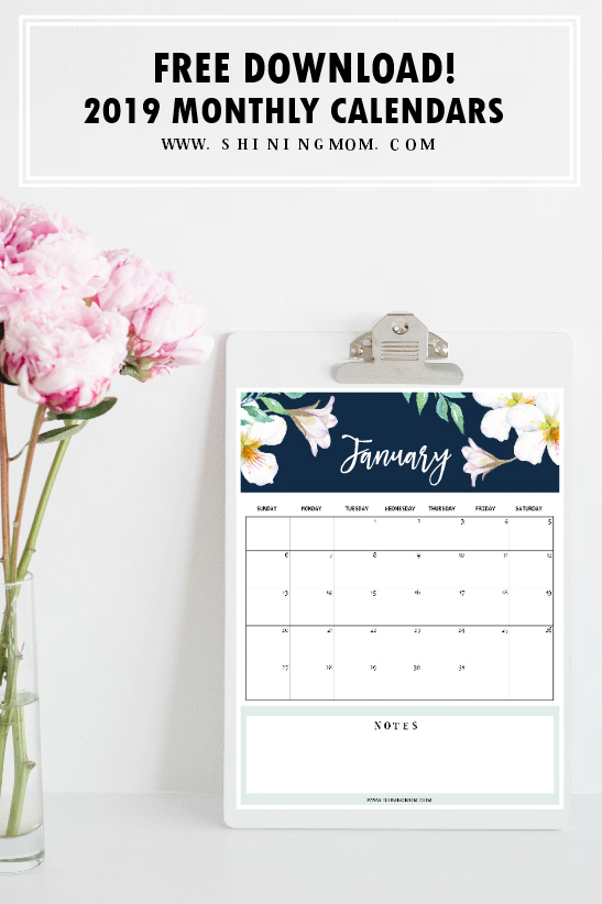 2019-2020 Free Printable Monthly Calendar - Happiness is ...
