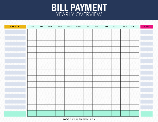 photo regarding Free Printable Bill Tracker identify 10+1 No cost Monthly bill Tracker Printables: Be upon Ultimate of Your Every month