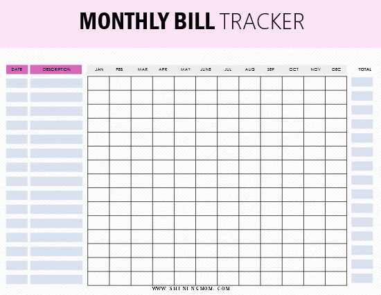 picture regarding Monthly Bill Tracker Printable named 10+1 No cost Invoice Tracker Printables: Be upon Greatest of Your Month to month