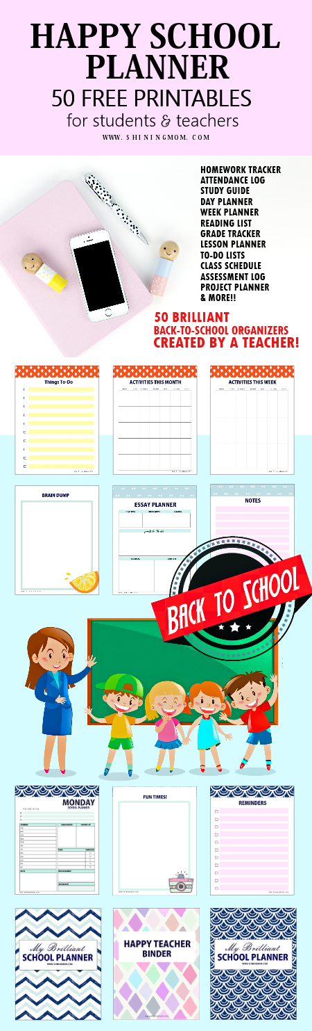 50 free school planner printables for teachers and students