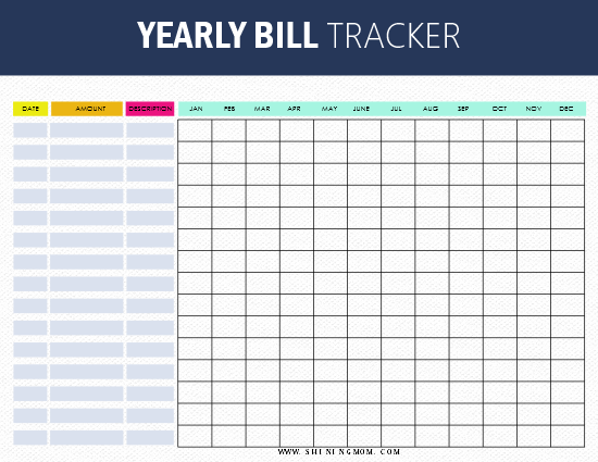 It is a graphic of Free Printable Bill Tracker intended for downloadable