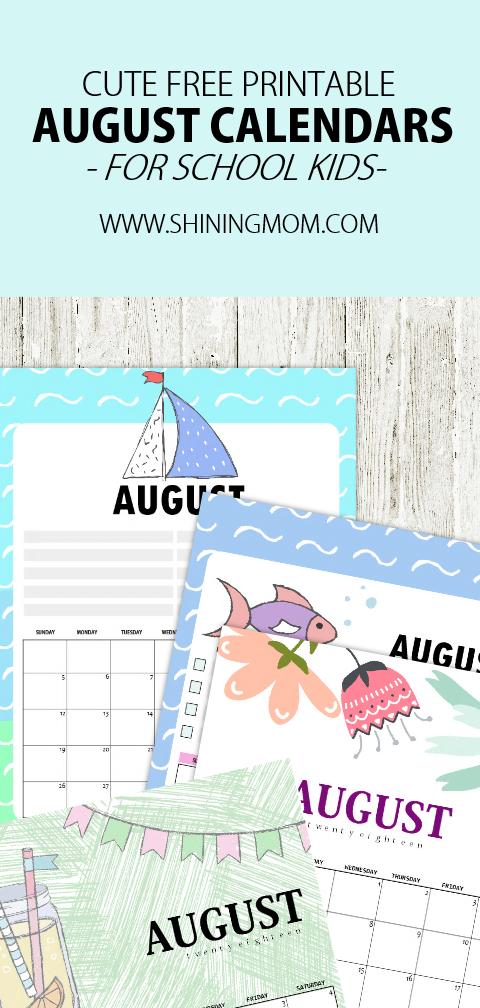 Cute August 2018 calendar free printable