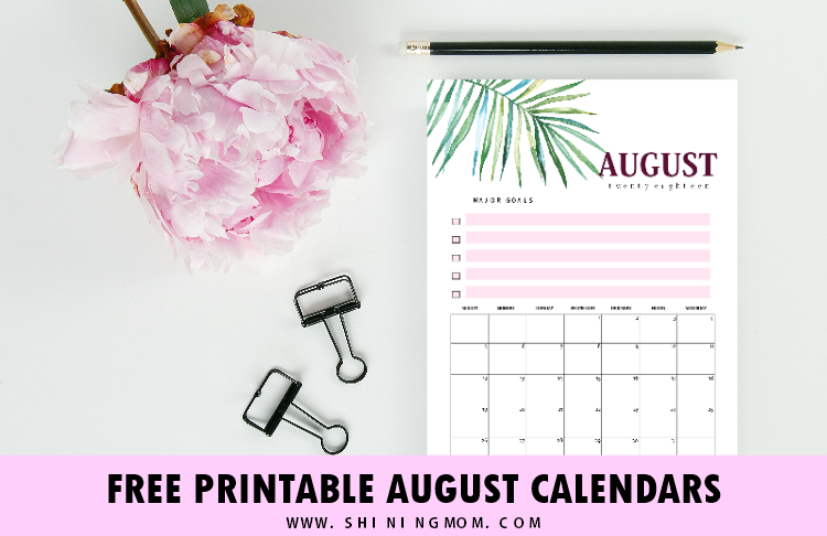 Free Printable August 2018 Calendar: 12 Awesome Designs!