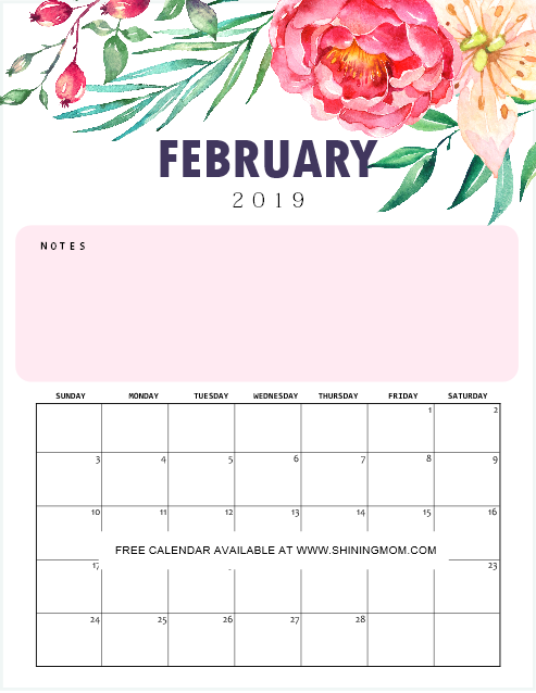 Calendar February 2019 Fancy FREE Printable Calendar 2019 with Notes in Pretty Florals!