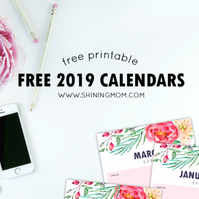 FREE Printable Calendar 2019 with Notes in Pretty Florals!