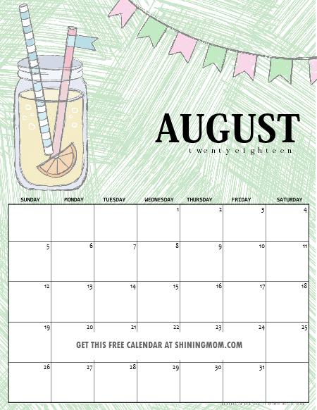 August 2018 school calendar
