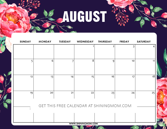 August 2018 calendar beautiful