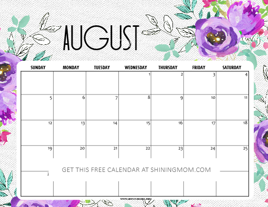 graphic regarding Printable August Calendar referred to as No cost Printable August 2018 Calendar: 12 Remarkable Programs!