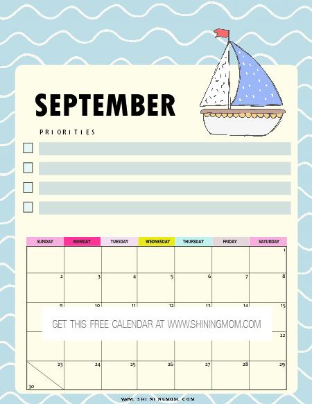 cute September calendar