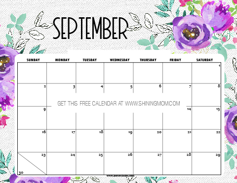 picture about Free Printable September Calendar named 12 No cost Printable September 2019 Calendar and Planners